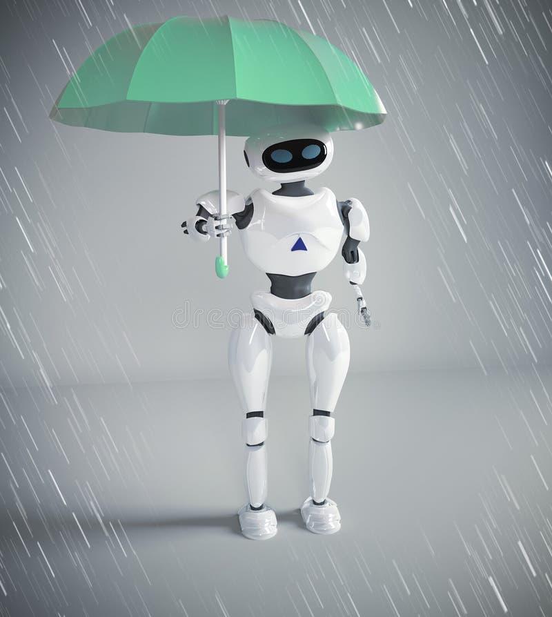 机器人女性与伞,3d回报 向量例证