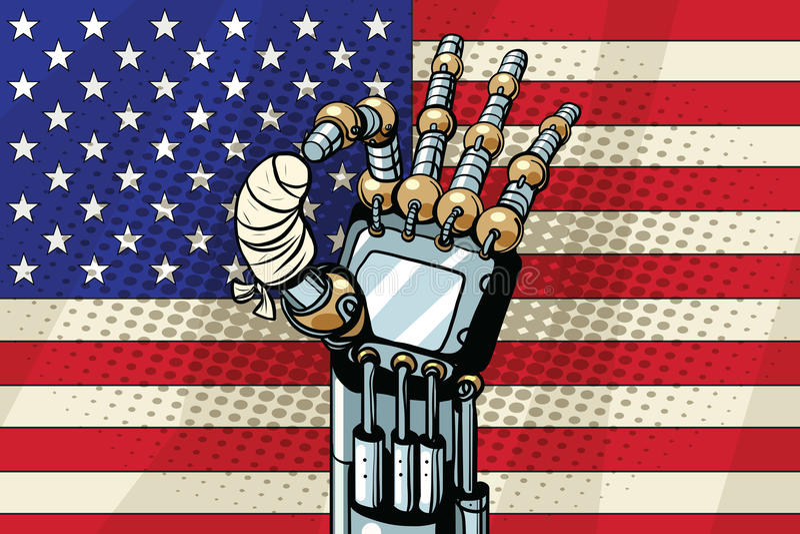 机器人好姿态,美国旗子 断被包扎的手指 皇族释放例证