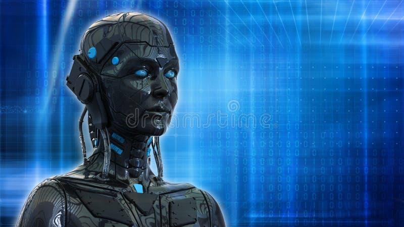 机器人妇女,科学幻想小说机器人女性人工智能背景3d回报 向量例证