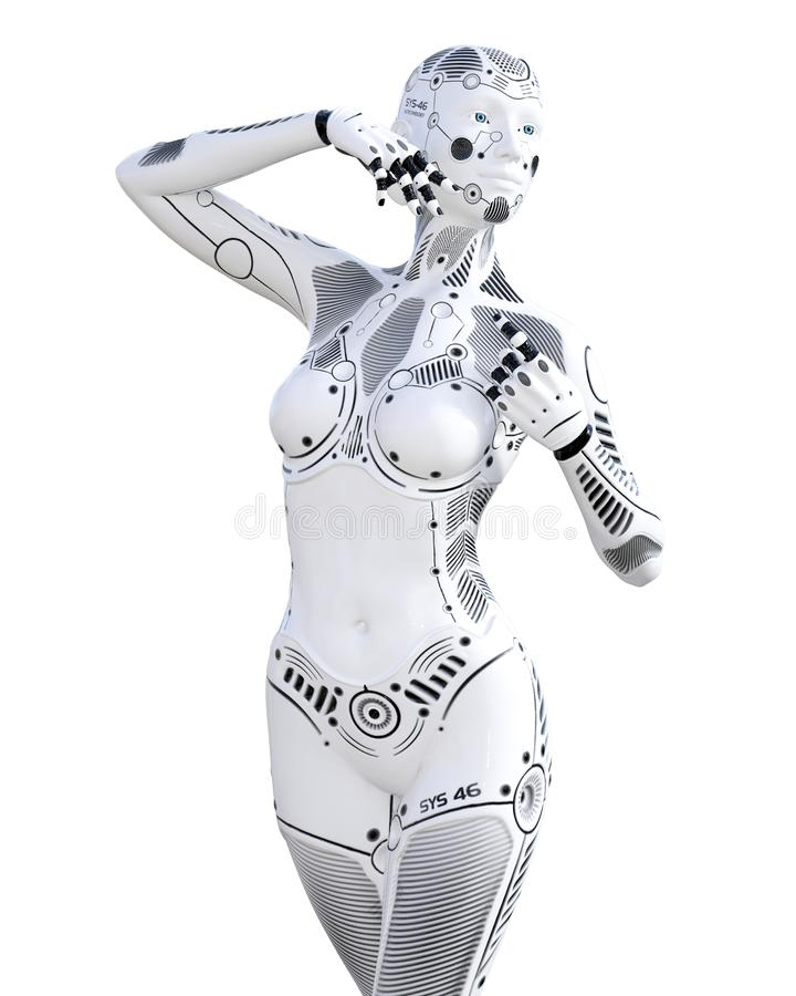 机器人妇女 白合金droid 库存例证
