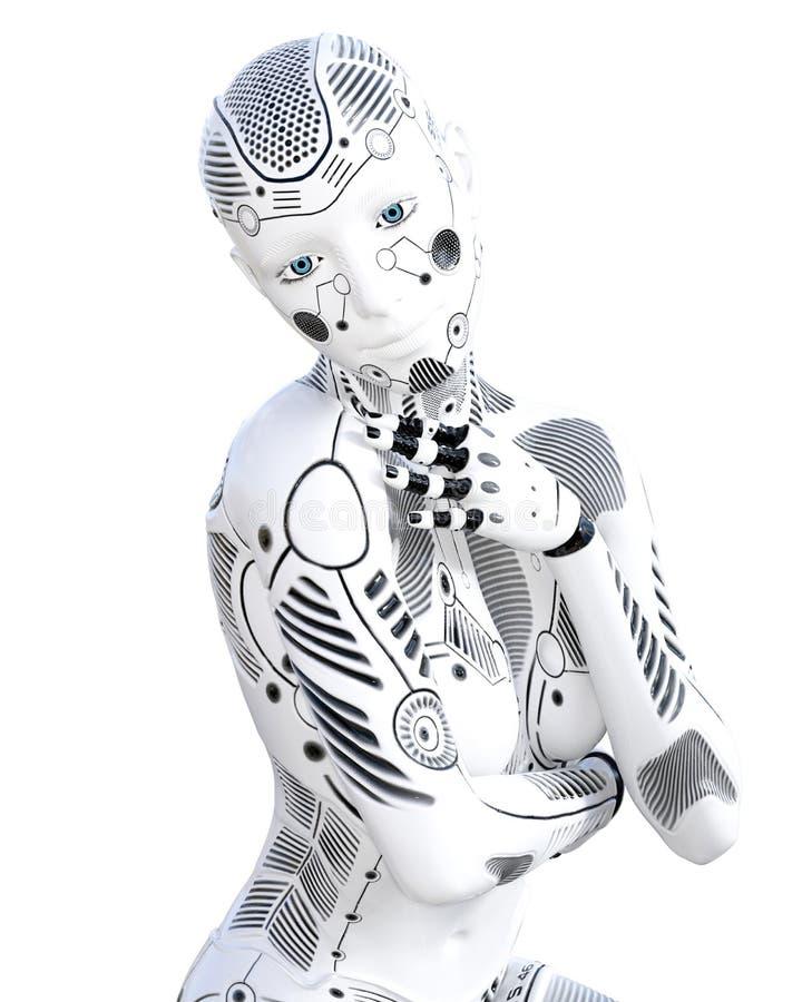 机器人妇女 白合金droid 向量例证