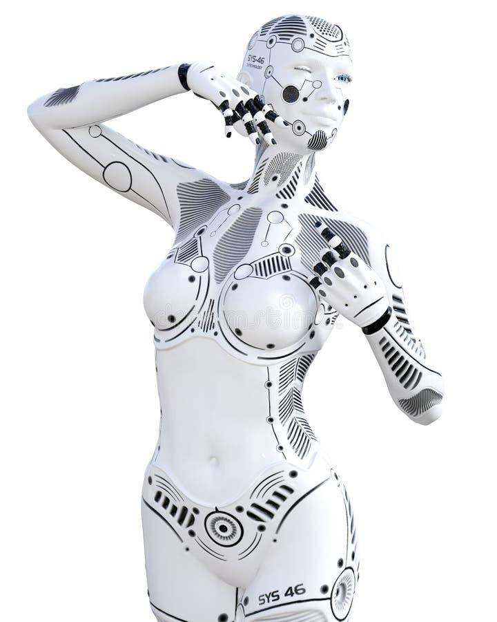 机器人妇女 白合金droid 皇族释放例证