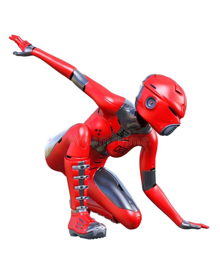 机器人妇女 红色表面无光泽的金属droid r 皇族释放例证