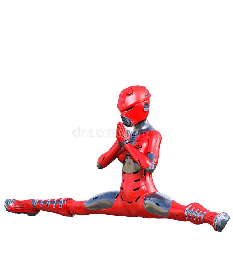 机器人妇女 红色表面无光泽的金属droid r 向量例证