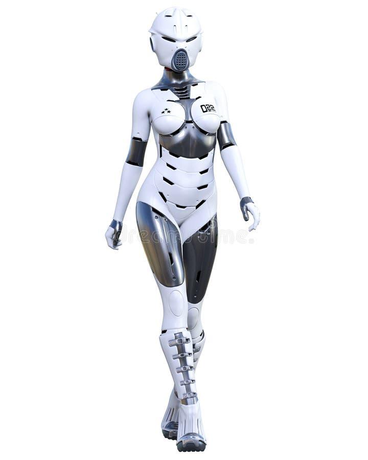 机器人妇女 表面无光泽的金属droid r 皇族释放例证