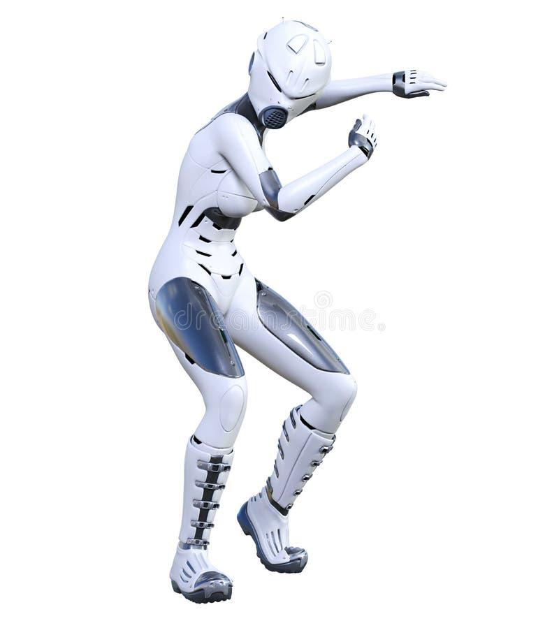 机器人妇女 表面无光泽的金属droid r 向量例证