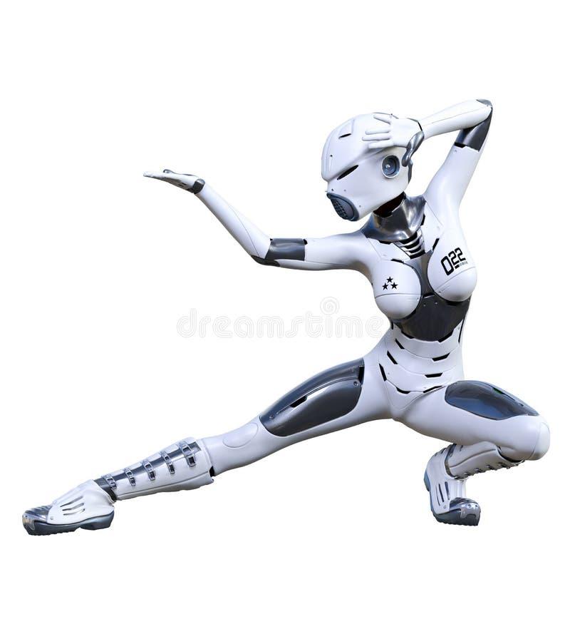 机器人妇女 表面无光泽的金属droid r 库存例证