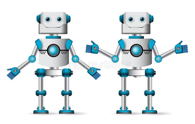 机器人字符与常设姿势的传染媒介集合设计元素的 库存例证