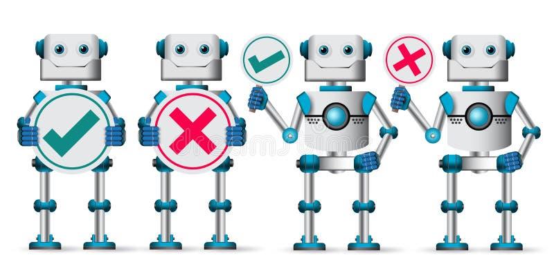 机器人字符传染媒介集合 举行招贴的白机器人靠机械装置维持生命的人 库存例证