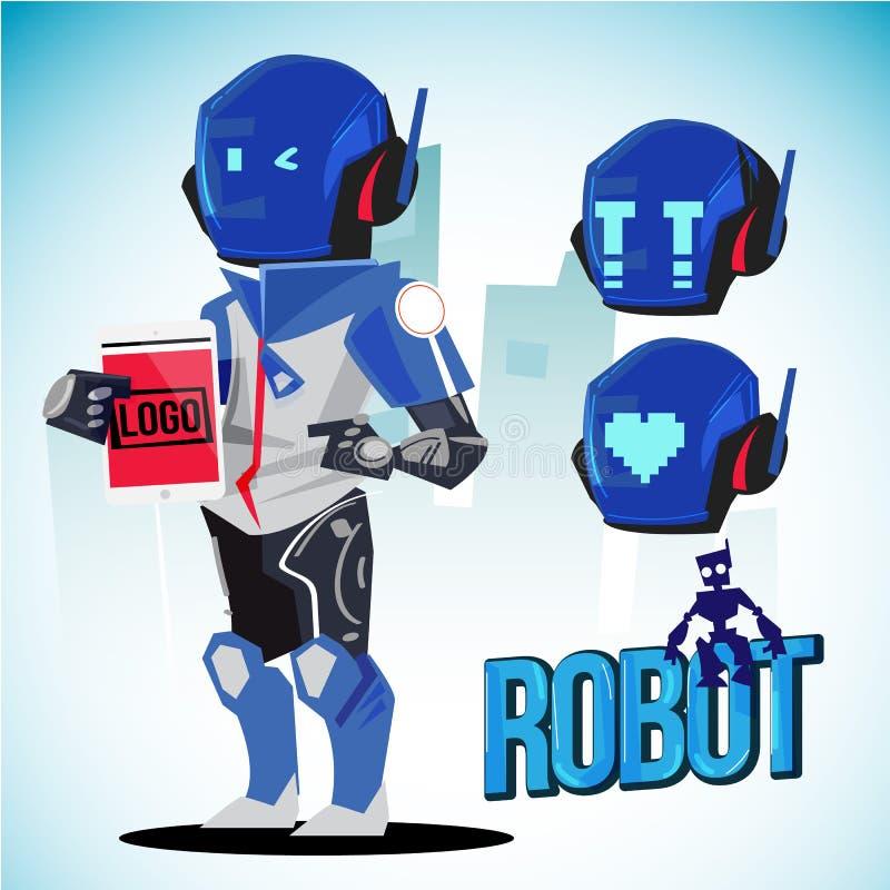 机器人字符设计激动在盔甲的 未来有人的特点的概念来与印刷设计-传染媒介例证 库存例证