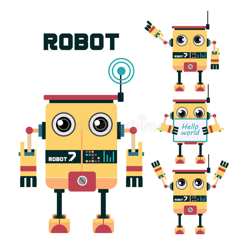 机器人字符设计 皇族释放例证