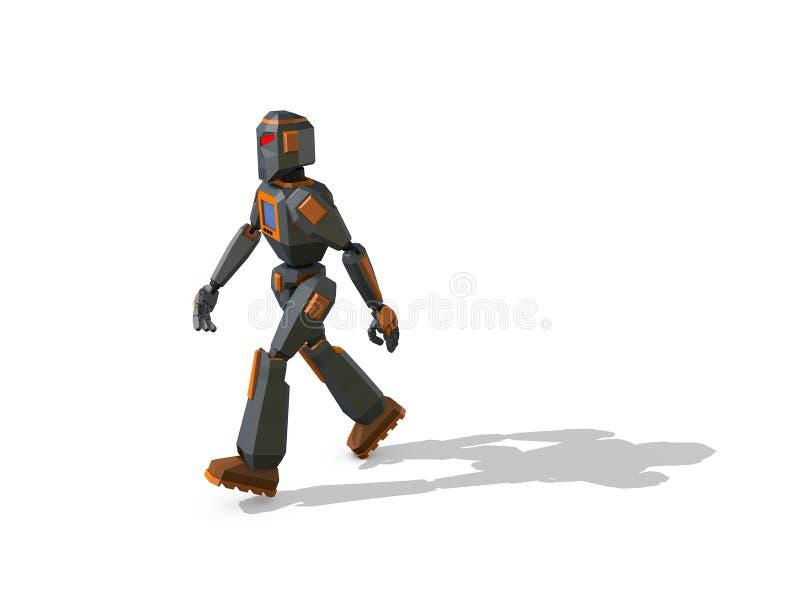 机器人字符走 截去容易的编辑文件例证的3d包括了路径翻译 向量例证