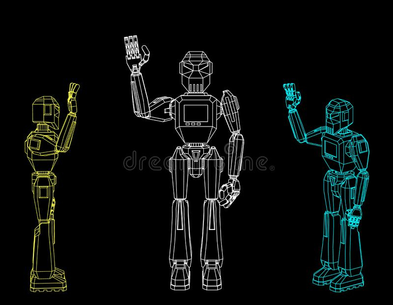 机器人字符问候 查出在黑色背景 传染媒介o 向量例证