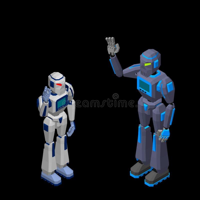 机器人字符问候 查出在黑色背景 3d Vecto 皇族释放例证