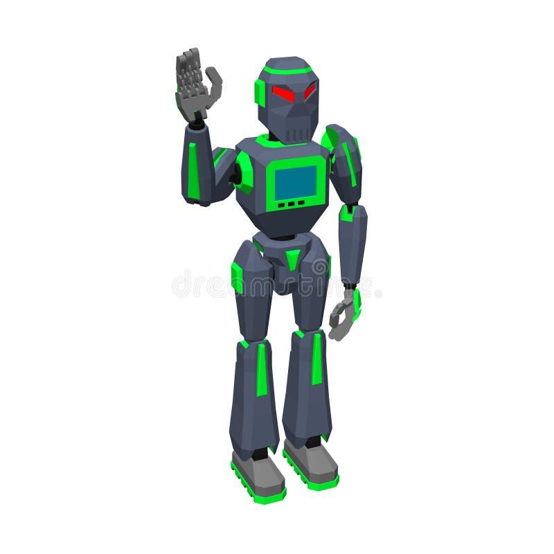 机器人字符问候 背景查出的白色 3d Vecto 向量例证