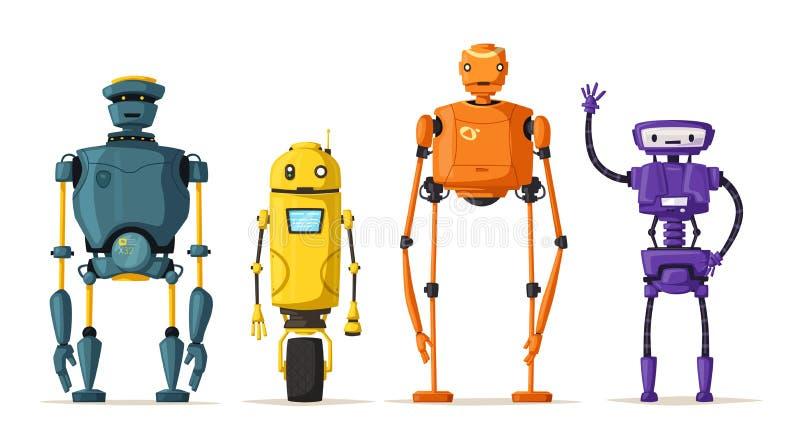 机器人字符 技术,未来 外籍动画片猫逃脱例证屋顶向量 库存例证