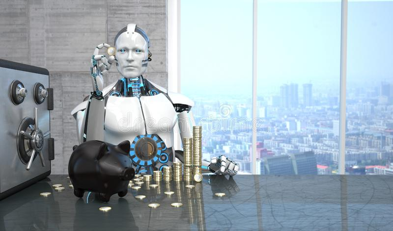 机器人存钱罐欧元铸造安全 向量例证