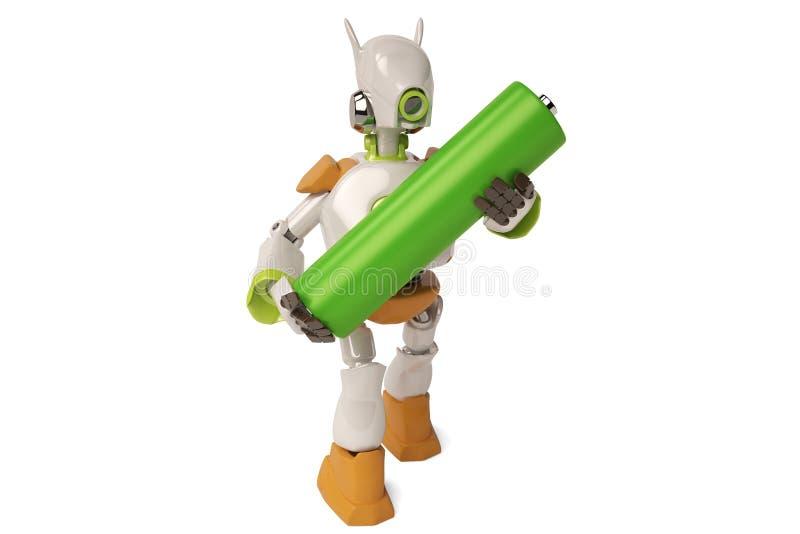 机器人学举行电池, 3D例证 库存例证