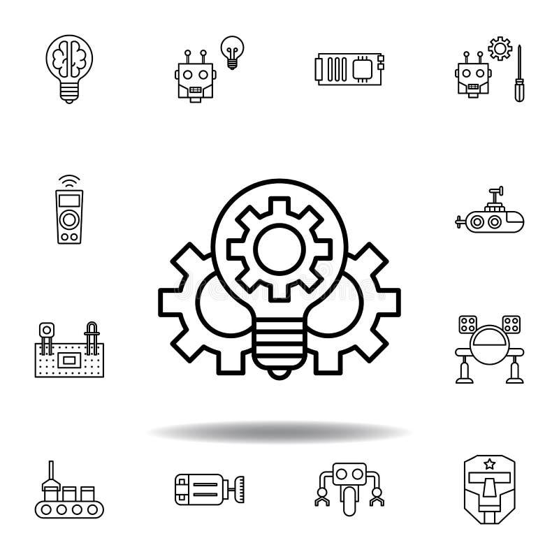 机器人学创新概述象 设置机器人学例证象 标志,标志可以为网,商标,流动应用程序,UI,UX使用 库存例证