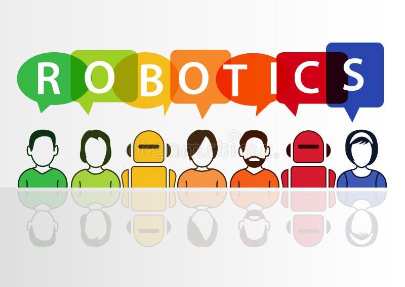 机器人学和机器人概念与文本在白色背景 库存例证
