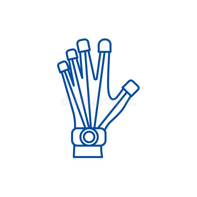 机器人学手钓丝象概念 机器人学手平的传染媒介标志,标志,概述例证 向量例证