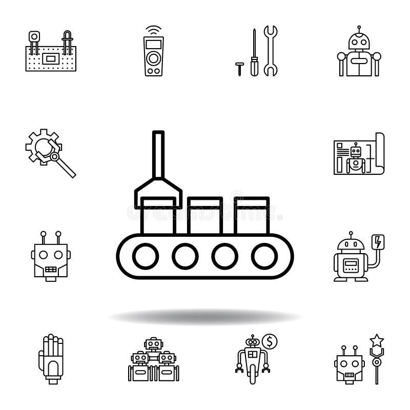 机器人学生产概述象 设置机器人学例证象 标志,标志可以为网,商标,流动应用程序,UI,UX使用 库存例证