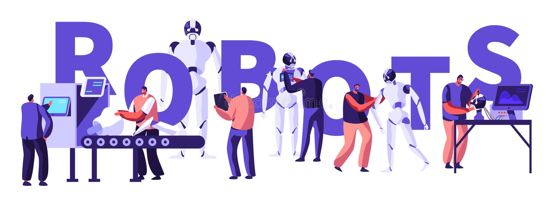 机器人学硬件和软件工程在有高科技设备概念的实验室 做的工程师和编程的机器人 皇族释放例证