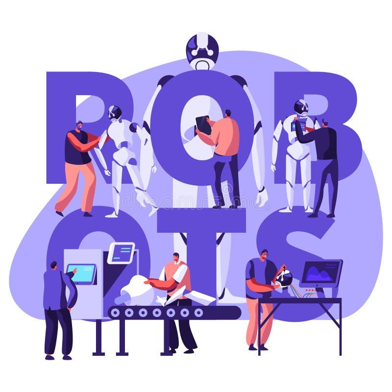 机器人学硬件和软件工程在有高科技设备概念的实验室 做的工程师和编程的机器人 向量例证