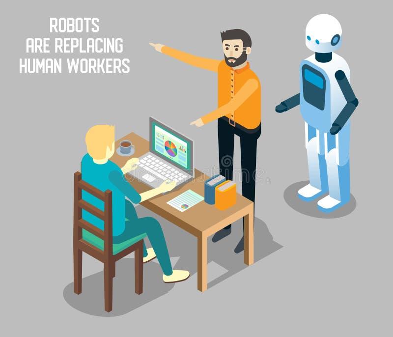 机器人对人劳方传染媒介等量例证 库存例证
