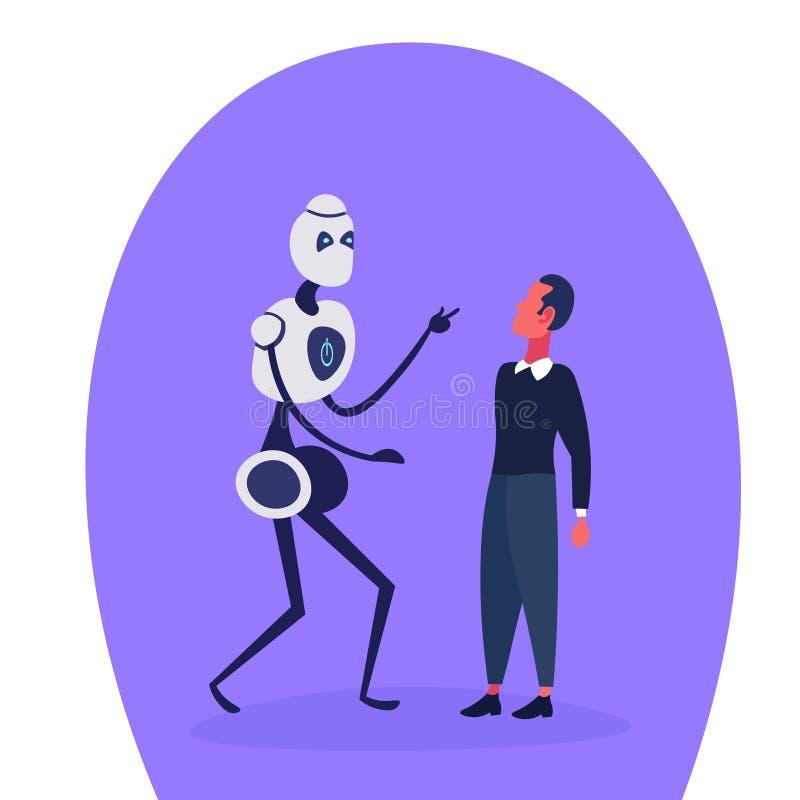 机器人对人的现代机器人机器商人通信计算机技术和人工智能概念 向量例证