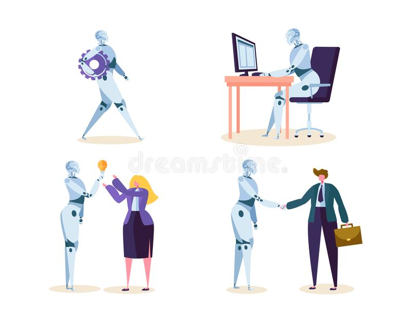 机器人工作在有人的办公室 机器Ai字符在未来工作的帮助商人 靠机械装置维持生命的人和人签署协议 向量例证