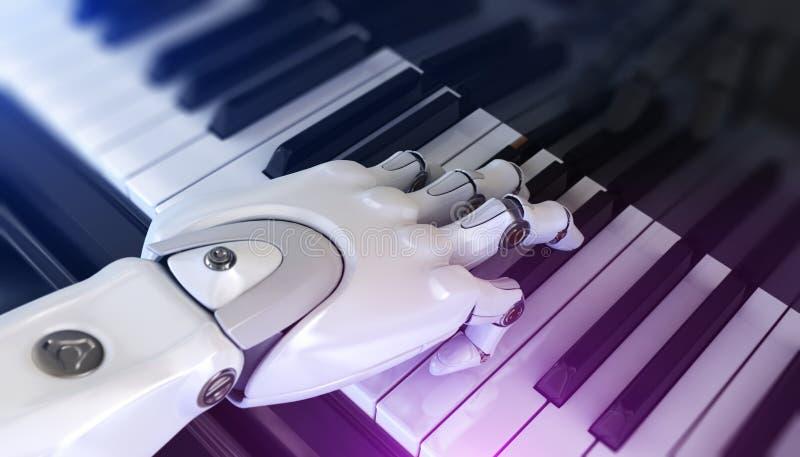 机器人弹钢琴 皇族释放例证