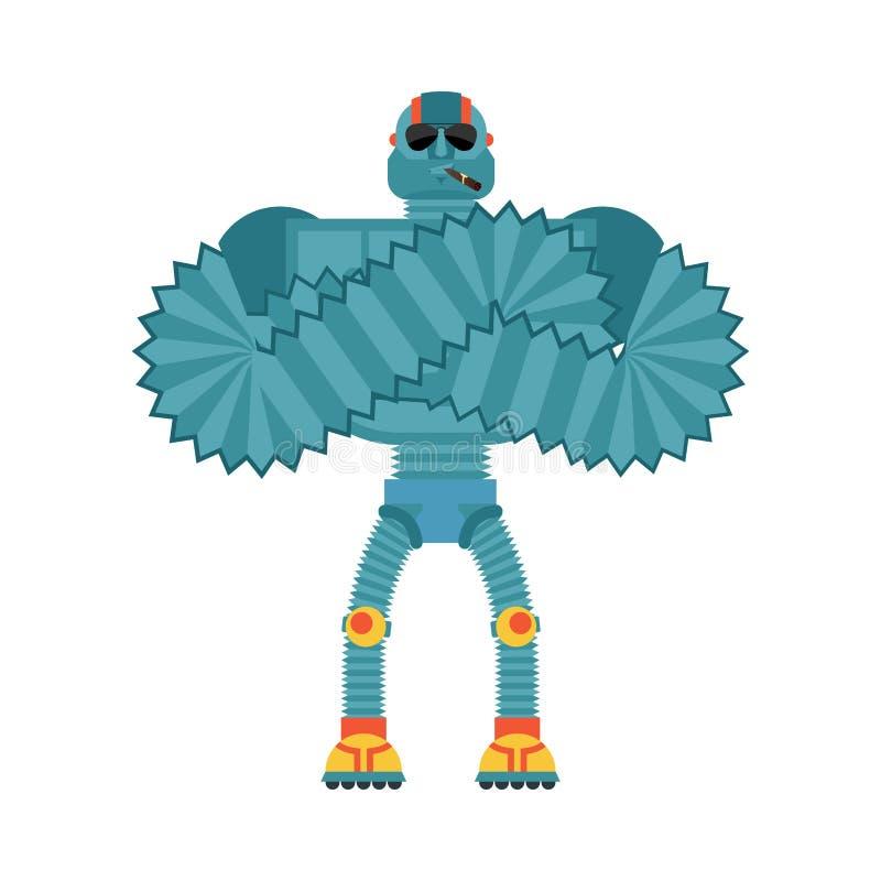 机器人强凉快严肃 靠机械装置维持生命的人抽烟的雪茄emoji 机器人m 库存例证