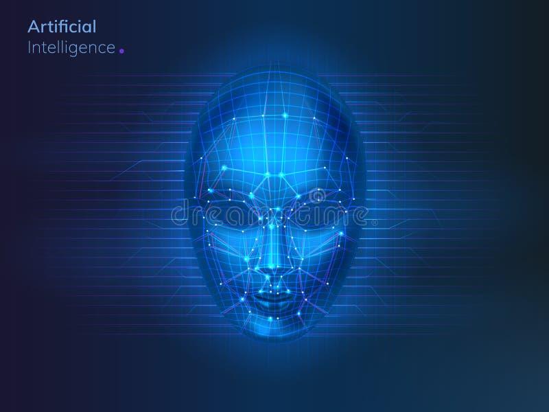 机器人或人工智能,AI网络面孔 向量例证