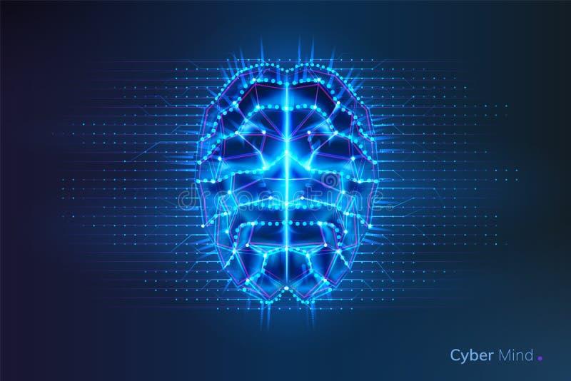 机器人或网络脑子,与电路的人脑 库存例证