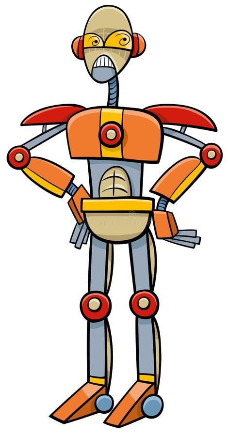 机器人或靠机械装置维持生命的人动画片例证 向量例证