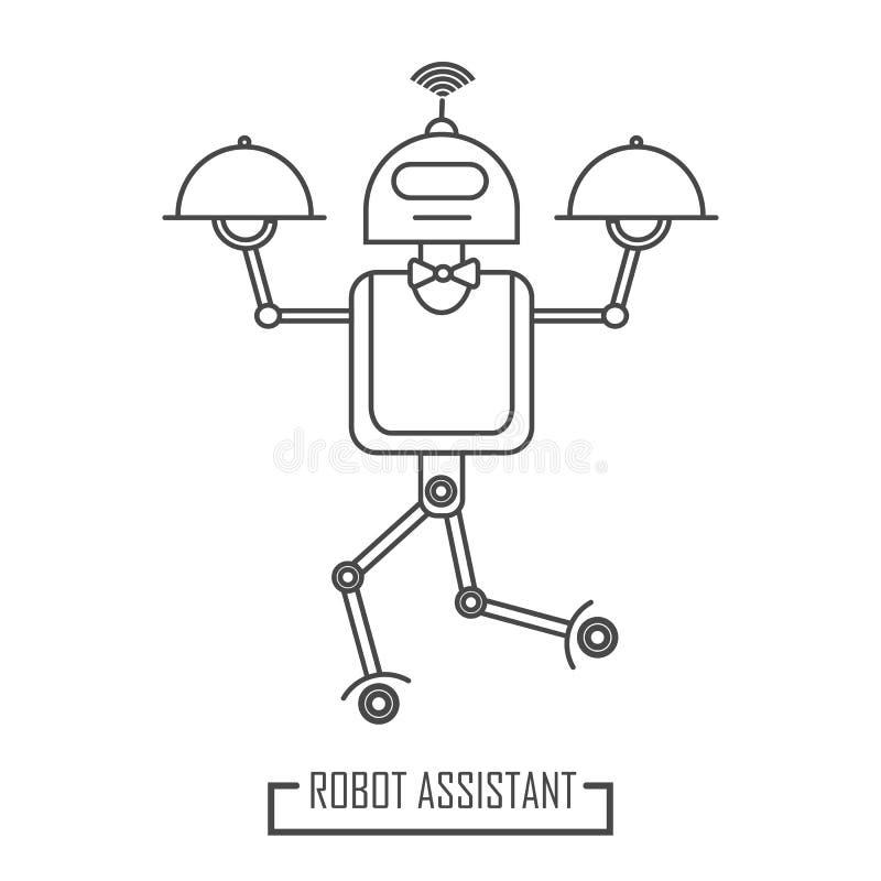 机器人房间服务在餐馆 现代线 向量例证