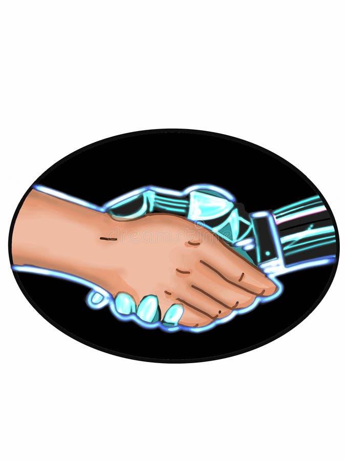 机器人手与人例证图画握手 库存例证