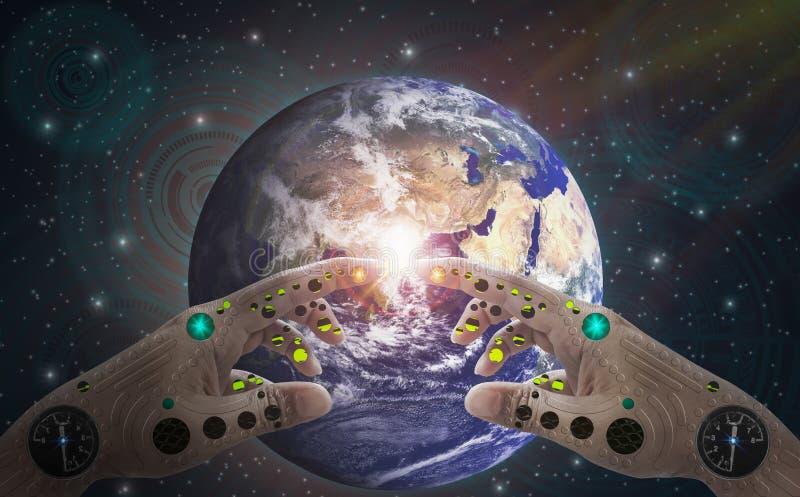 机器人手和手指接触地球、背景外层空间和技术象,与世界的精神,科学,推进和 皇族释放例证