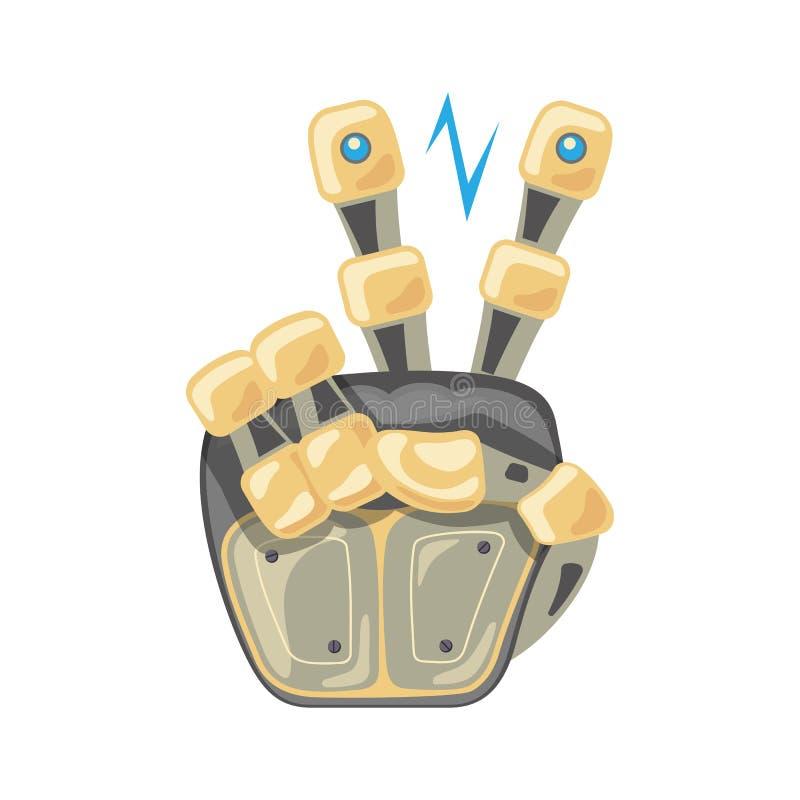机器人手和蝴蝶 机械技术机器工程学标志 两数字 指针 其次 和平 在手指之间的能量 库存例证