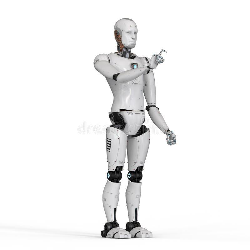 机器人手指向 库存例证