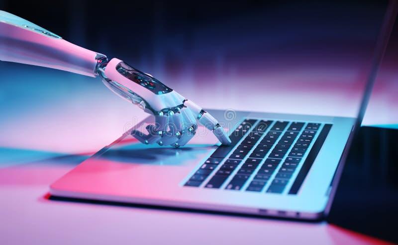 机器人手按在膝上型计算机3D翻译的一个键盘 库存例证