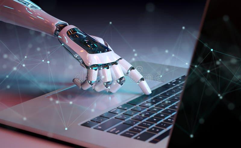 机器人手按在膝上型计算机3D翻译的一个键盘 皇族释放例证