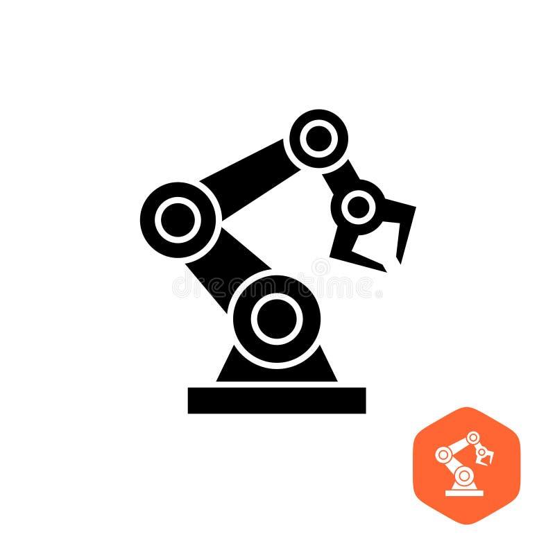 机器人手操作器黑色剪影标志象 库存例证