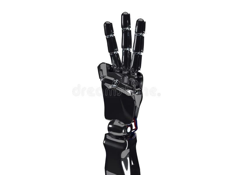 机器人手显示三个手指 3d翻译 库存例证