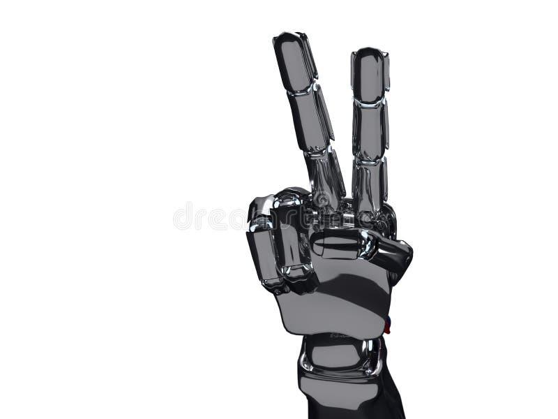 机器人手显示两个手指 3d翻译 皇族释放例证