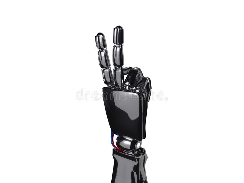 机器人手显示两个手指 3d翻译 库存例证