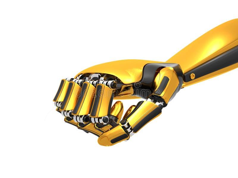 机器人手金子和黑颜色 向量例证
