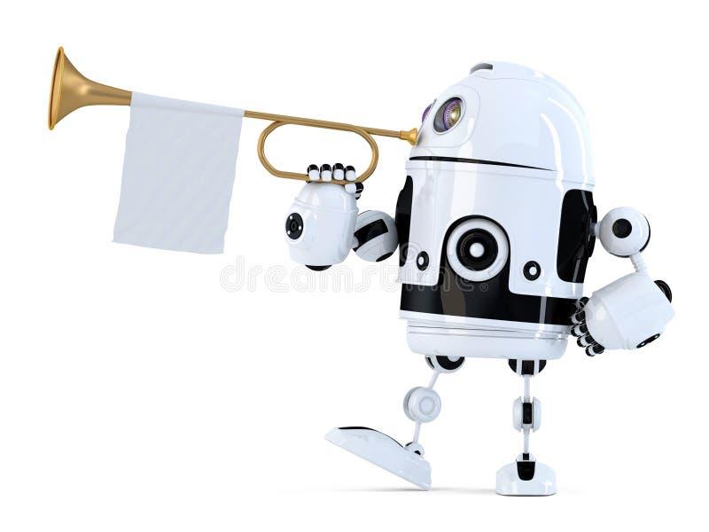 机器人拿着有空白的白旗的喇叭 3d例证 Isol 向量例证