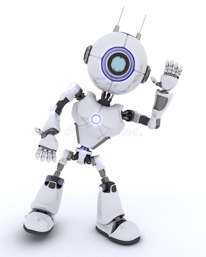 机器人挥动的你好 库存例证